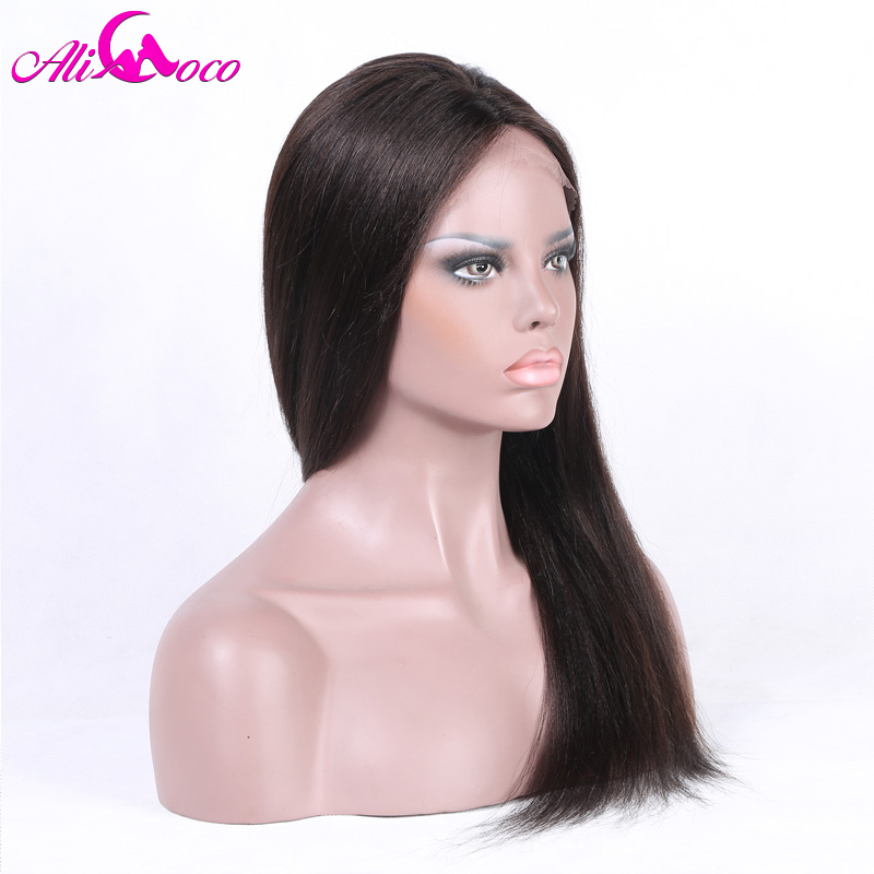 Ali Coco Brazilian 4*4 Straight Lace Front Wig With Baby Hair 8 28 Inch 150% Density Natural Color 100% Remy Human Hair Wigs-in Human Hair Lace Wigs from Hair Extensions & Wigs    3