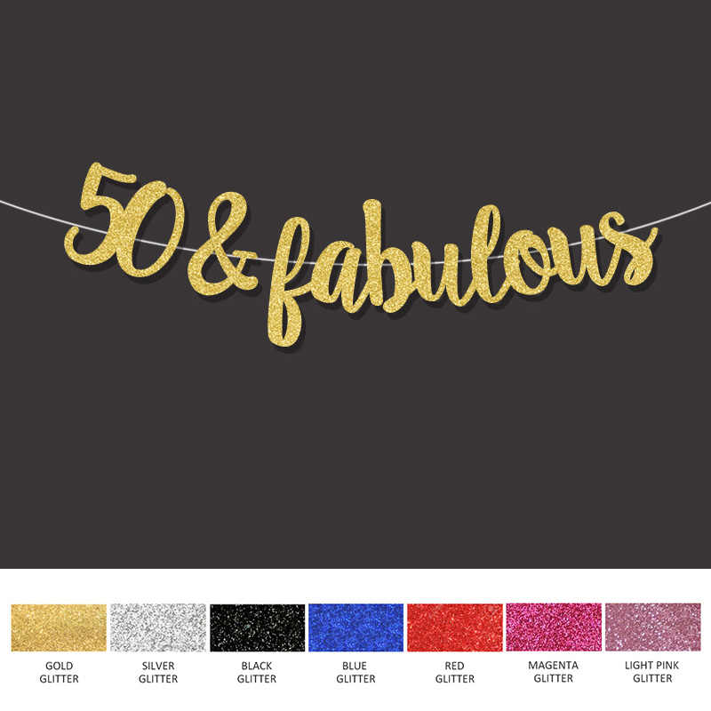 Gold Black Silver Glitter 50 Fabulous Banner 50th Happpy