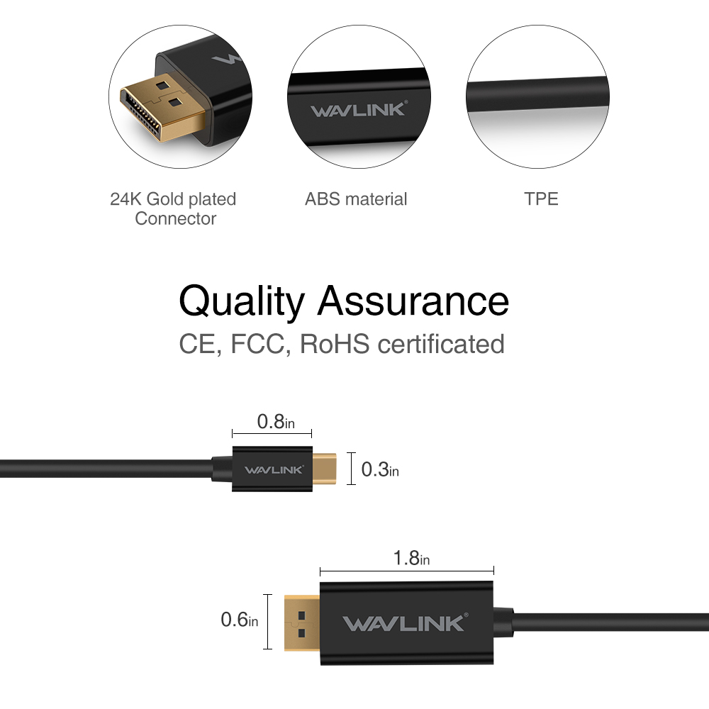 Wavlink 18m Usb C To Displayport Cable 31 Type Thunderbolt 3 Wiring Diagram Pins 16 Diameter Od 45mm Connector Gold Plated Whats In The Package 1type