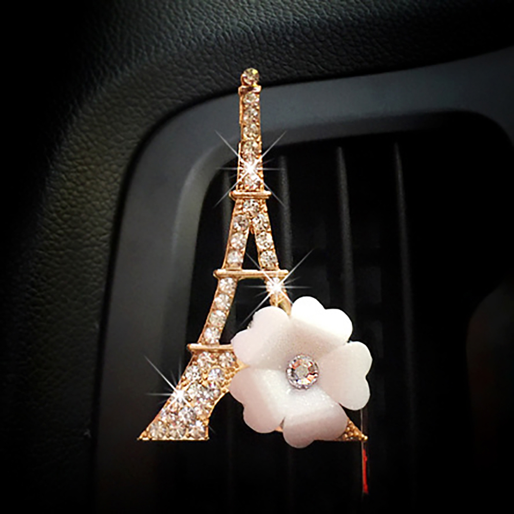 Rhinestone Eiffel Tower Flower Car Air Vent Freshener Perfume Aroma Clip ecor in Air Freshener from Automobiles Motorcycles