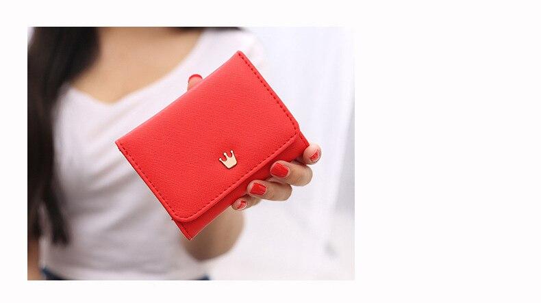 Женский маленький кошелек на молнии, женские короткие кошельки, украшенные короной, Мини кошельки для денег, складные кожаные женские портмоне, держатель для карт