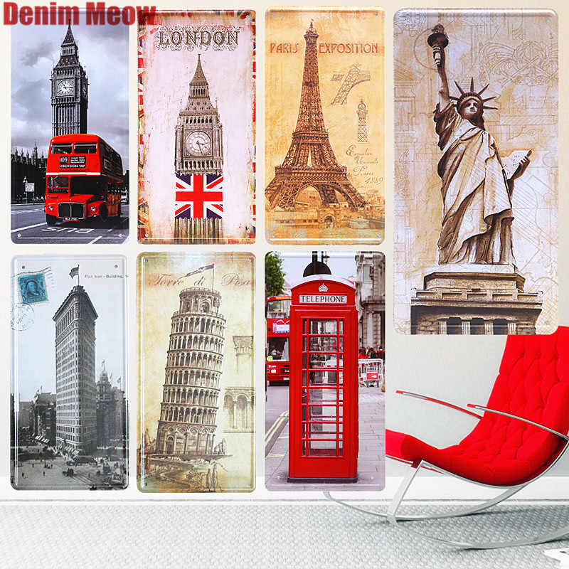 15*30cm Leaning Tower of Pisa Vintage Car License Plates Bar Cafe Decorative Plates London Bus Poster Statue Of Liberty Tin Sign