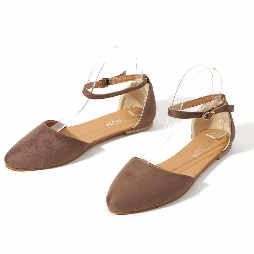 Lin Koning Enkelband Vrouwen Flats Schoenen Gesp Puntige Teen Dames Casual Schoenen Comfortabele Big Size Enkele Schoenen Zapatos De mujer