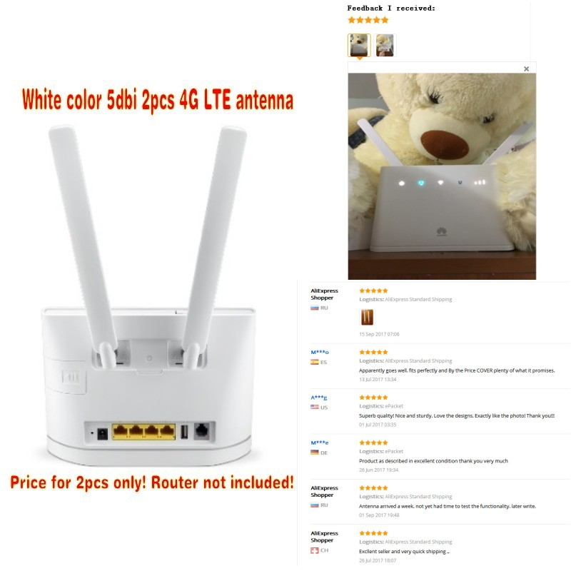 White color 5dbi 2pcs 4G LTE antenna huawei b593 B890 B315 B310 B880 B525 with sma connector