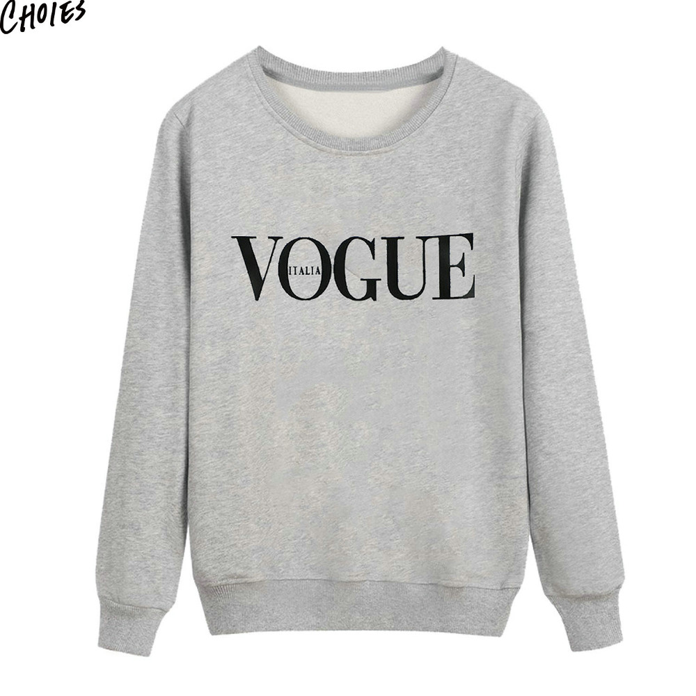 2017 Pullover Gray VOGUE Letter Print Front Autumn Sweatshirt Women Long Sleeve Round Neck Simple Casual