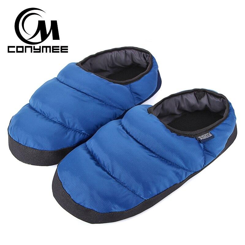 CONYMEE Winter Home Fur Slippers Men Down-cotton Indoor Shoes Pantufa For Mens Warm Casual Sneakers Plush Slipper Erkek Terlik