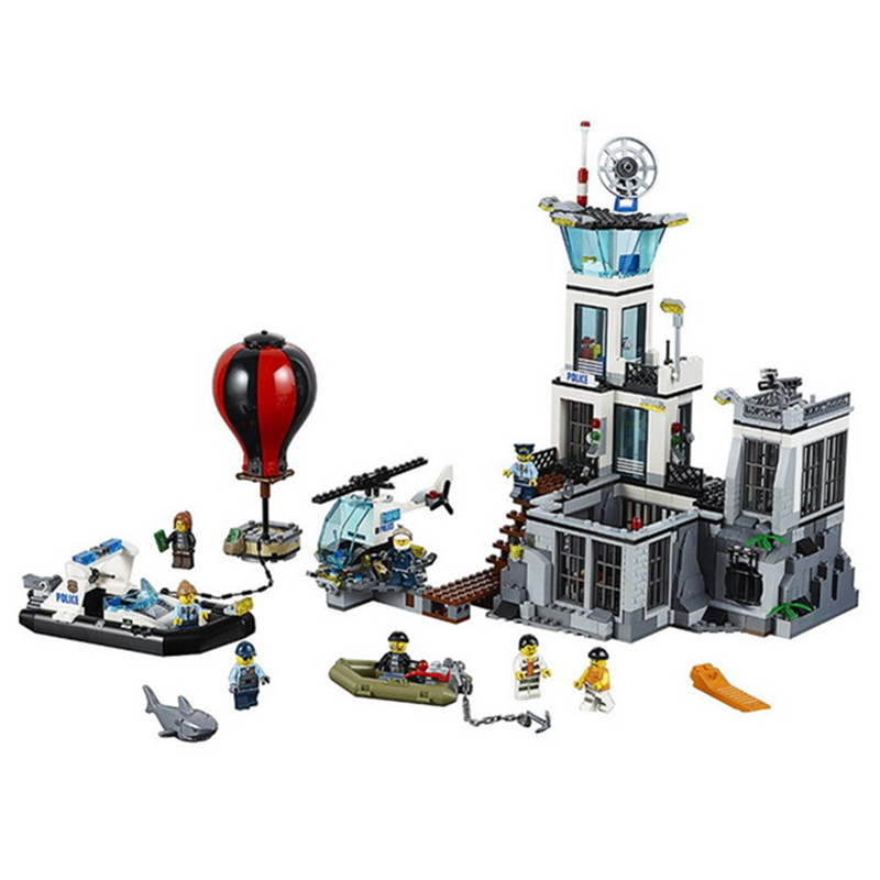 815pcs Diy City Series The Police Prison Island Model Building Blocks Compatible With Legoingly Bricks Toys Gift For Children lepin 40011 882pcs city series police department model building blocks bricks toys for children gift action figures