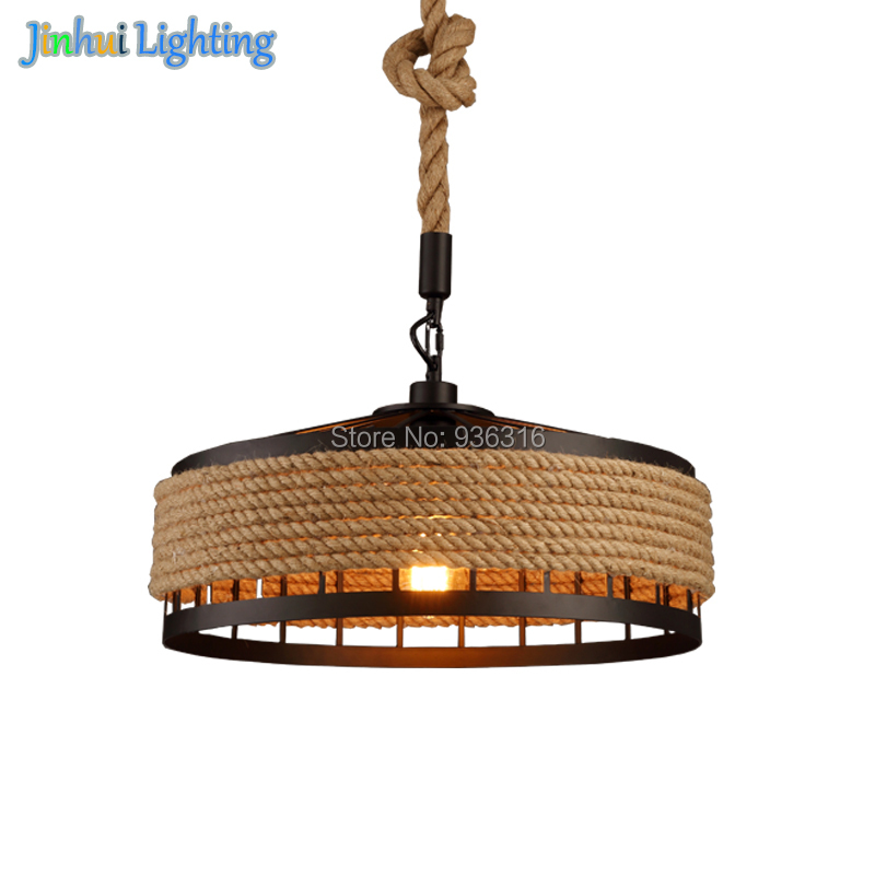 Rural Pastoral creative restaurant Cafe personality wrought iron rope chandelier lamp Internet cafe bar loft hemp rope lamp antique wooden iron pendant chandelier lamp vintage cafe restaurant bar creative personality rural pilot pendant bar droplight