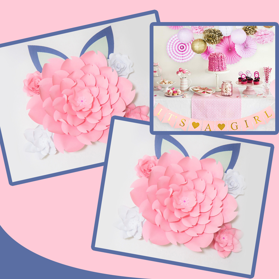DIY Large Paper Flowers Giant Rose Fleurs Backdrops 5PCS 2 Ears For Wedding Decorations Nursery Kids 39 Birthday Video in Artificial amp Dried Flowers from Home amp Garden
