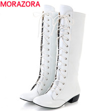 MORAZORA 2016 new fashion knee high boots lace up sexy low heels comfortable high quality autumn winter women boots