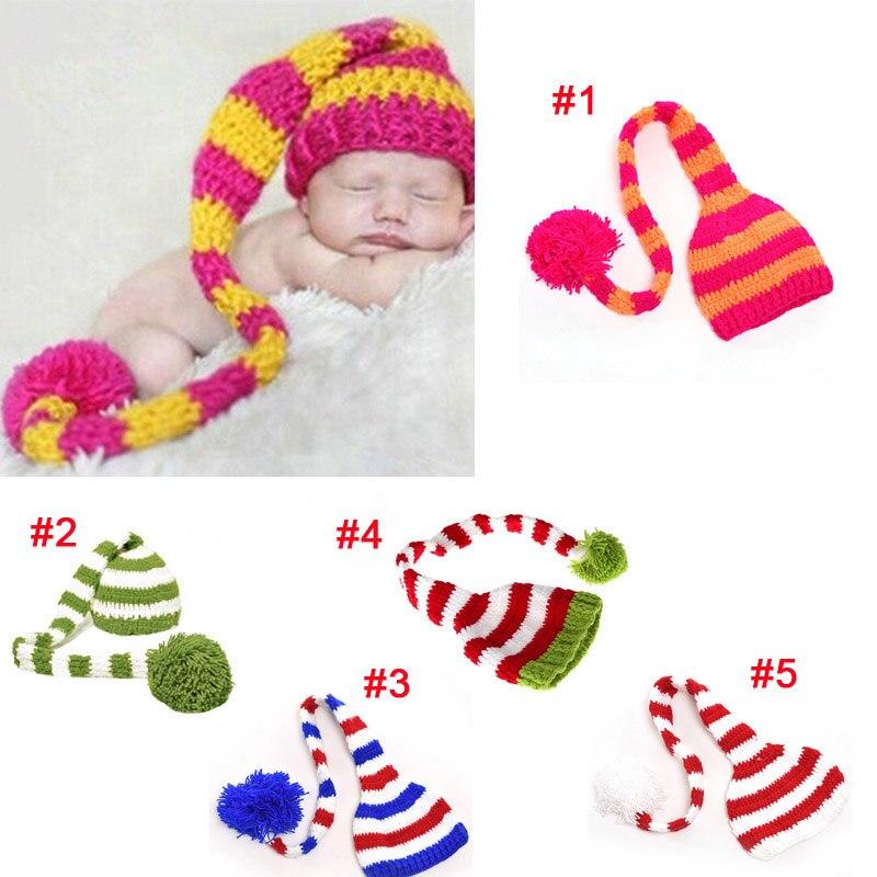 Cute Christmas Design Baby Hat Newborn Crochet Elf Long Tail Striped Crochet  Cap Handmade Beanie Costume Fotografia T-in Hats   Caps from Mother   Kids  on ... 033877cc1f85