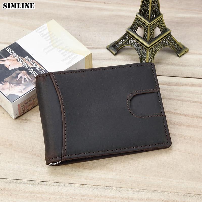 1a7085772 RFID bloqueo Bifold Slim cuero genuino minimalista frente billeteras para  hombres con Clip de dinero titular de la tarjeta de hombre cartera -  a.chestpain. ...