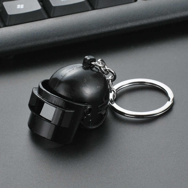 The popular PUBG Arms Mini Model Metal Keychains Helmet 98K Backpack Pan Key Ring Car Purse Men Key Chains Holder Trinkets Gift