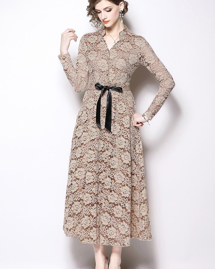 Solide évidé dentelle robe 2018 automne hiver longue robe femmes v-cou à manches longues élégantes robes Vintage Vestidos Mujer - 2