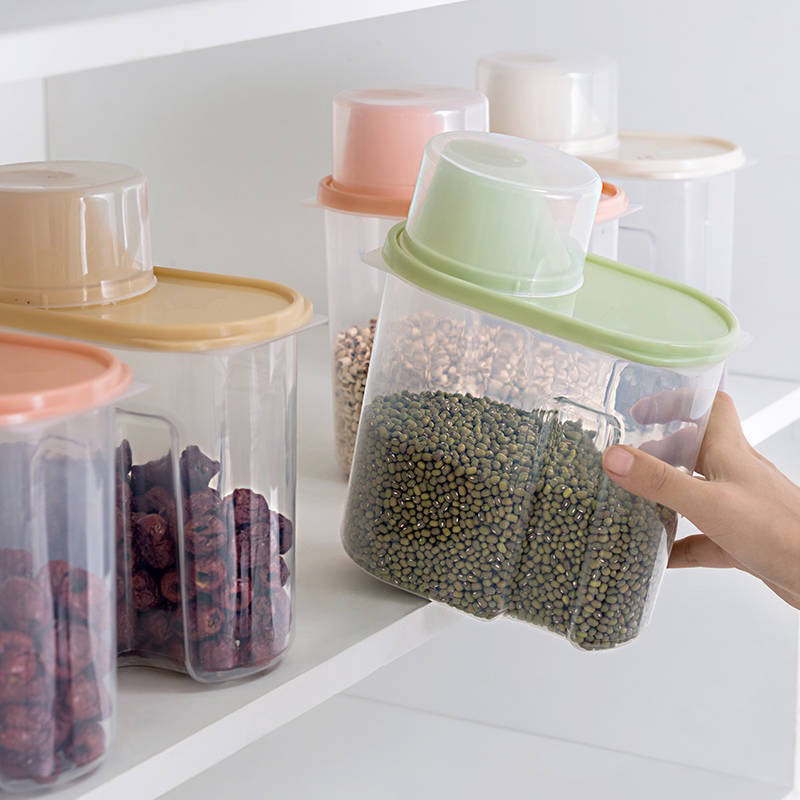 Image 2 - PP Food Storage Box Plastic Clear Container Set with Pour Lids Kitchen Storage Bottles Jars Dried Grains Tank 1.9L 2.5L H1211-in Storage Bottles & Jars from Home & Garden