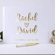 Персонализированная Гостевая книга Золотая каллиграфия Альтернативная Гостевая книга пользовательские названия и дата Свадебный журнал A5 B5 Размер на день рождения