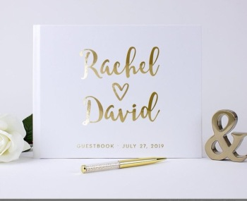 personalize Guest Book Gold Calligraphy Alternative Guestbook Custom Names and Date Wedding Journal A5 B5 size birthday ablums