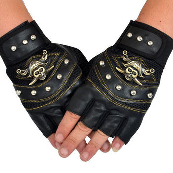 Skull Gloves Leather Skeleton Motorcycle Cross Racing Half Fingers Pirate Rivet Punk Bicycle Cycling New