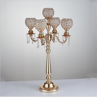 85 cm height 5 arms metal Gold/ Silver candelabras with crystal pendants wedding candle holder Event centerpiece