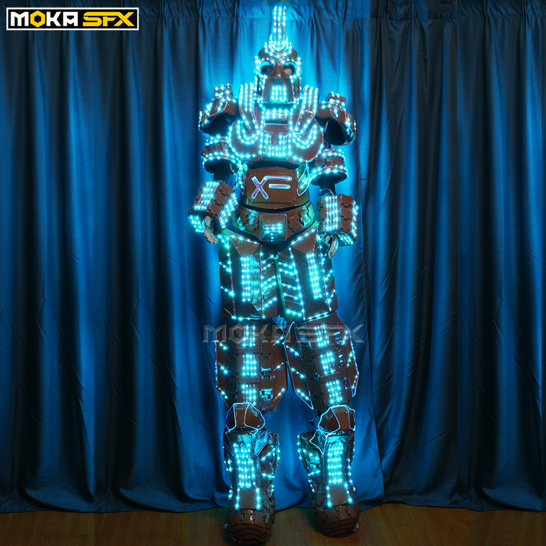 Christmas Robot Rogrammable Full Color RGB Led Robot Men Costumes Luminous Light Robots Led Costumes Stage Led Robot Clothes