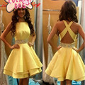 New Arrive Beaded Sash Yellow Cocktail Dresses Elegant Sleeveless Open Back Short High Quality Party Gowns Custom