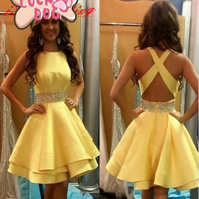 Nuevo llega el marco moldeado amarillo vestidos cóctel elegante sin ...