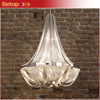 פוסט מודרני ציצית שרשרת אלומיניום עגול גדול זרם אולם סלון אור תליון כסף יוקרה מנורות אור בית תאורה