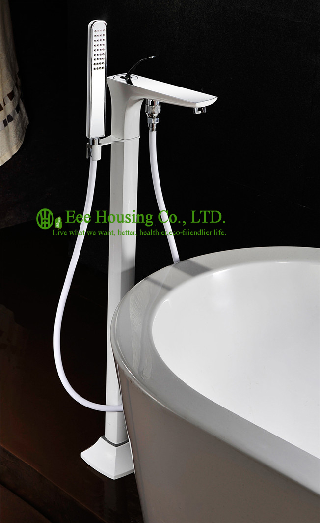 Free Shipping brass floor standing shower bath mixer,bathtub faucet,white spray and chrome finished,bathtub accessories