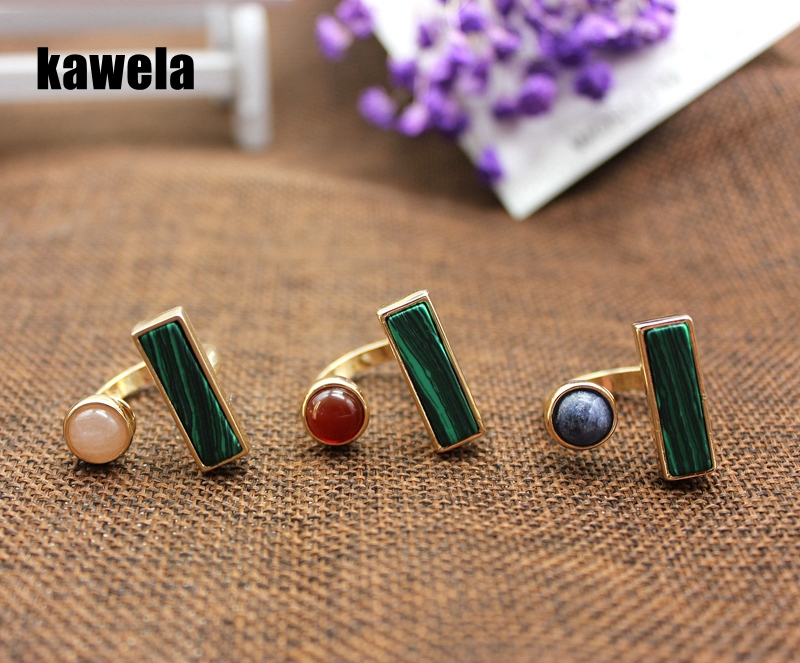 Free Shipping Natural Stone Sweet Cute Open End 3 Colors Ring