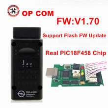 Melhor qualidade op com v1.59 1.65 1.70 com pic18f458 chip ferramenta de diagnóstico opcom pode ônibus ferramenta de diagnóstico para opel
