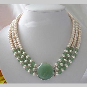 Collar de perlas, clásico 3 filas 7-8mm redondo blanco perlas de agua dulce verde Ja-des collar, regalo perfecto para mujeres