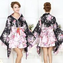 530a2a7b8 Las mujeres Sexy Sakura Anime traje de Kimono de seda japonesa de satén de  novia de la boda de dama de honor manto Floral bata c.