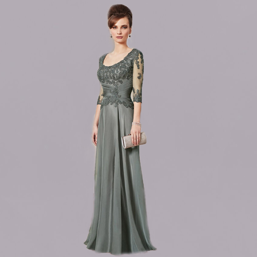 2018 New Arrival O Neck Pleated A Line Floor Length Lace Long Sleeve Bridal Evening Formal Gown Mother Of The Bride Dresses