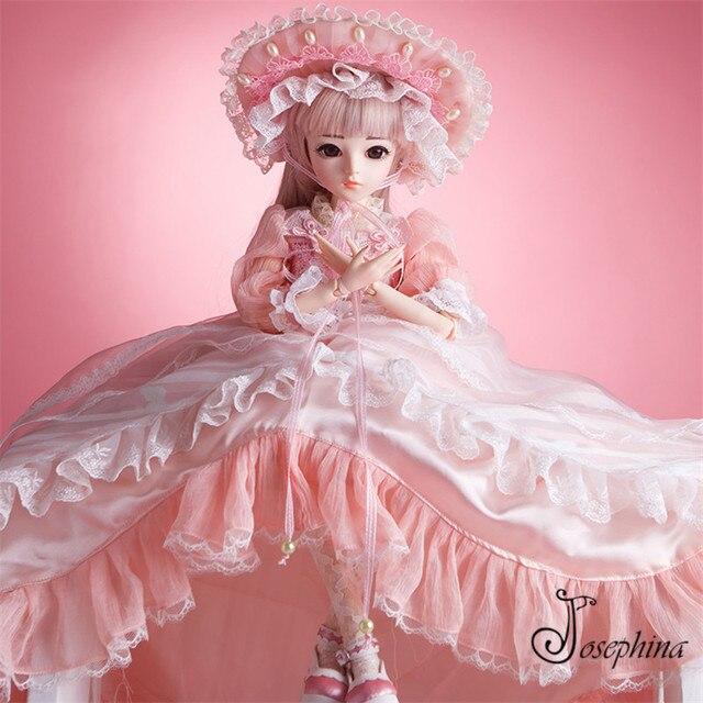 S4--Olinna 1 3 Josephina-Doris SD BJD Dolls Handmade Retro Pink Court  Dresses and Lierihattu Beautiful Dream Toys for Girls 8a23342dfb
