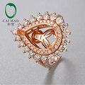 10x14 мм Груша форма 18 К розовое золото Натуральный 2.04ct Бриллиантовое Обручальное Кольцо Ювелирные Изделия для Бесплатная Доставка