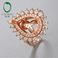10x14mm Pear shape 18K rose gold Natural 2.04ct Diamond Engagement Ring Jewelry for Free Shipping