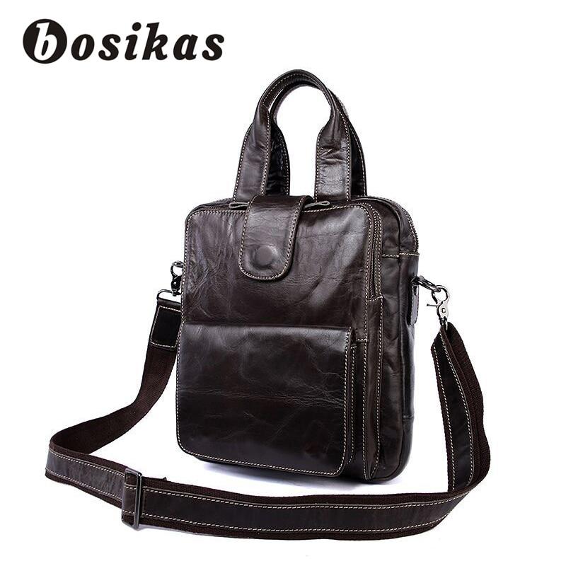 купить BOSIKAS Men's Briefcase Genuine Leather Men Bags Business Male Messenger Bag Man Document Crossbody Bags Hasp Shoulder Handbags недорого