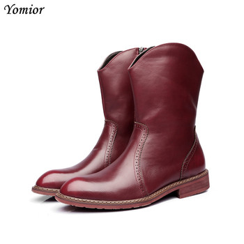 Yomior Men Pointed Toe Cow Leather Boots Handmade High Quality Casual Ankle Boots Male Wedding Party Sexy Gentleman Brogue Boots