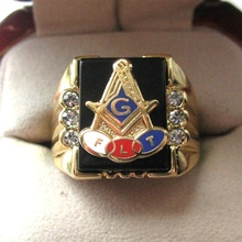 Hot Selling Natural Onyx 18kt Gold Filled Masonic Memorial religious Party ring Size 7 8 9 10 11 12 13 14 15