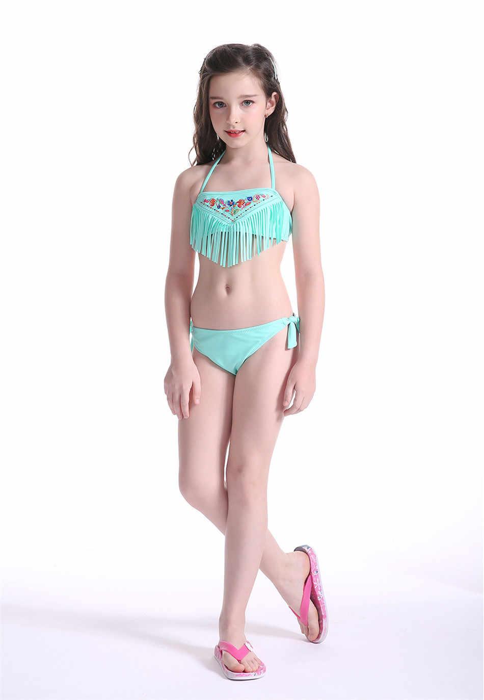 77f8a56bd20 New Kids bikinis mujer Children Swimsuit brazilian Summer Tassel Beachwear  Swimwear Girls Swimming Wear Bathing Suit modest
