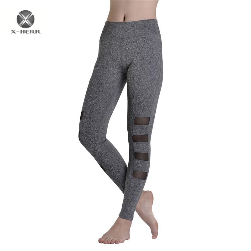 X-HERR X-HERR Women Exercise Gym Leggings Gray <font><b>Black</b></font> Elastic Quick Dry Yoga Pants <font><b>Socks</b></font> Tights Leggings Sport Leggings Women