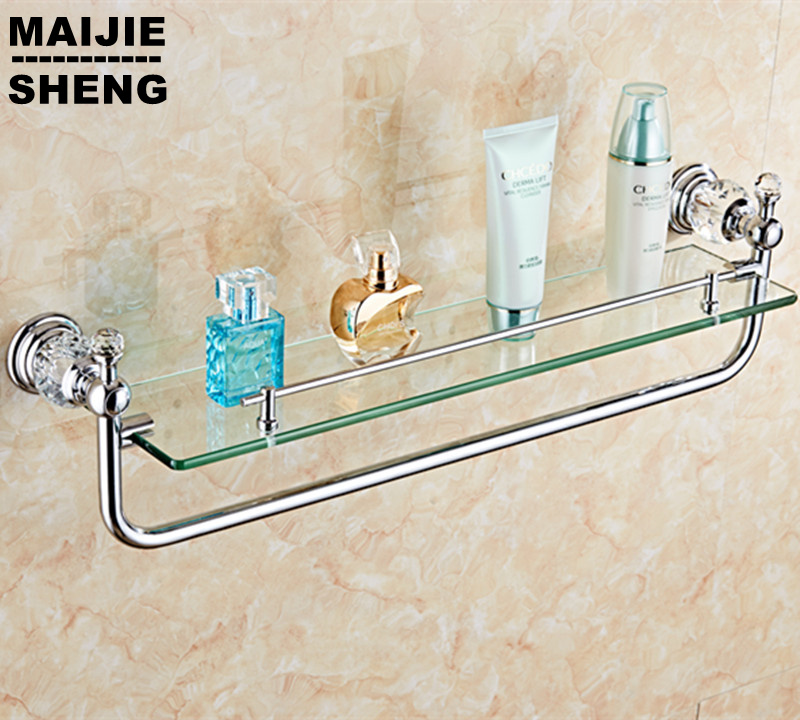 Chrome crystal bathroom single layer shower glass shelf - Bathroom glass corner shelves shower ...