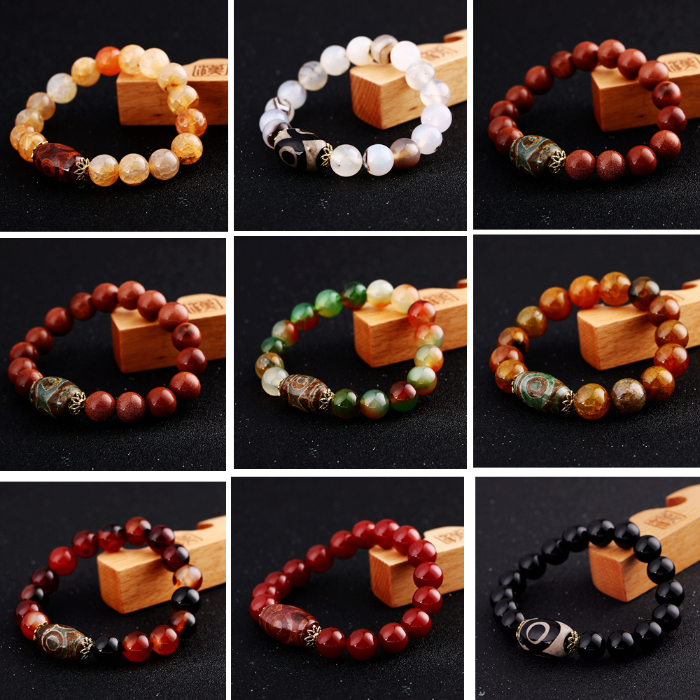 2018 Amber Natural Round 8mm / 10mm / 12mm / 14mm Stone Agate Beads Bracelet For Men Women Classic Agate Bracelet For Men Women classic printed round decorated faux leather chain bracelet for women