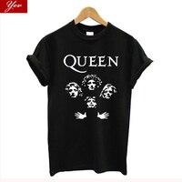 Блеск рок группа queen футболка для женщин; большие размеры 100% хлопок летняя женщин, Винтаж уличная футболка femme harajuku