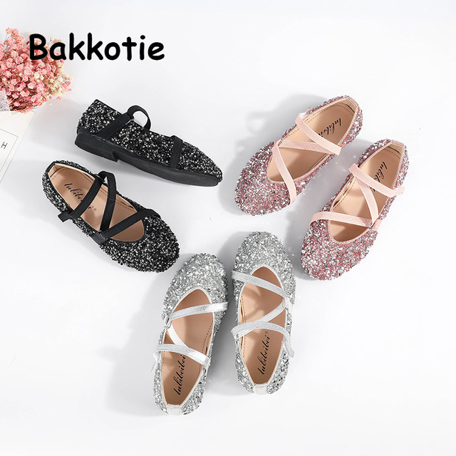 Bakkotie 2018 Autumn New Fashion Baby Girl Pu Leather Shoes Kid Black Sequin  Ballet Flats Children Glitter Shoes Brand Mary Jane b8d26cf4f687