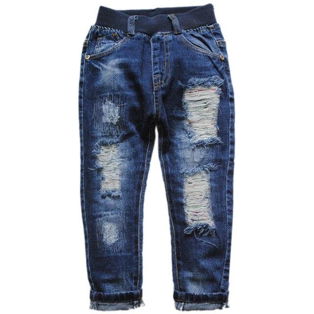 6029 ОТВЕРСТИЯ МАЛЬЧИКА джинсы брюки джинсовые темно-синие брюки случайные брюки способа малышей детей мальчиков и девочек новая весна осень приятно