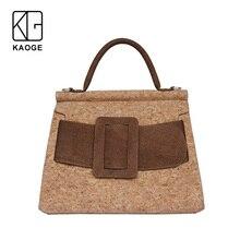 KAOGE มังสวิรัติธรรมชาติ Cork กระเป๋าสตรี Handmade กระเป๋า Antifouling กระเป๋าถือกระเป๋าสุภาพสตรีกระเป๋า