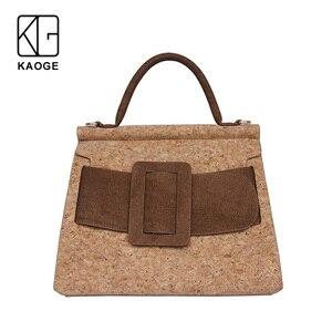 Image 1 - KAOGE Vegan Luxus Natürliche kork tasche Frauen Handgemachte Schulter Taschen Antifouling Handtasche Designer Taschen Damen Hand Tasche