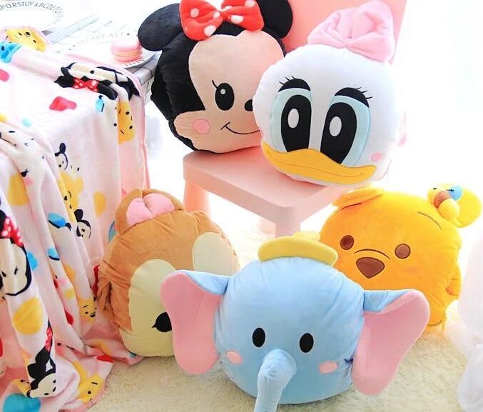 ФОТО 1pc 160cm Donald Duck Daisy fly elephant bear chipmunk plush coral fleece office cushion + blanket stuffed toy romantic gift