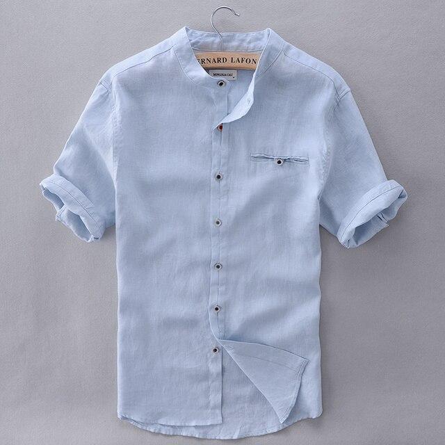 Marca de estilo francés camisa hombres Lino verano manga corta casual  hombres camisa moda sólido Camisas 5a7a3c3d3458b